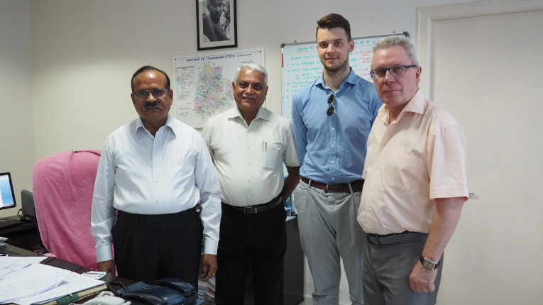 Meeting participants at TSTRANSCO, L-R:  T. Jagath Reddy, Director (Transmission), Dr. Ashok Singh, Dmitry Orekhov and Victor Kiryukhin
