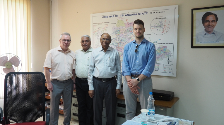 Meeting participants at TSTRANSCO, L-R: Victor Kiyukhin, Dr. Ashok Singh, J. Surya Prakash, Director (Projects & LI) and Dmitry Orekhov