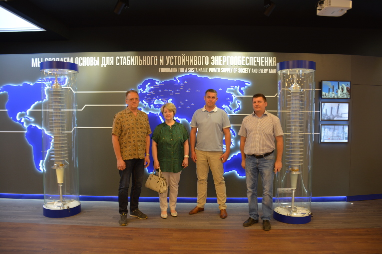 Prima-Center representatives at Izolyator plant museum, L-R: Lead specialist of Prima-Center Oleg Lukashov, Commercial Director of Prima-Center Natalia Mykhina, Dmitry Abbakumov and Vladimir Romanov