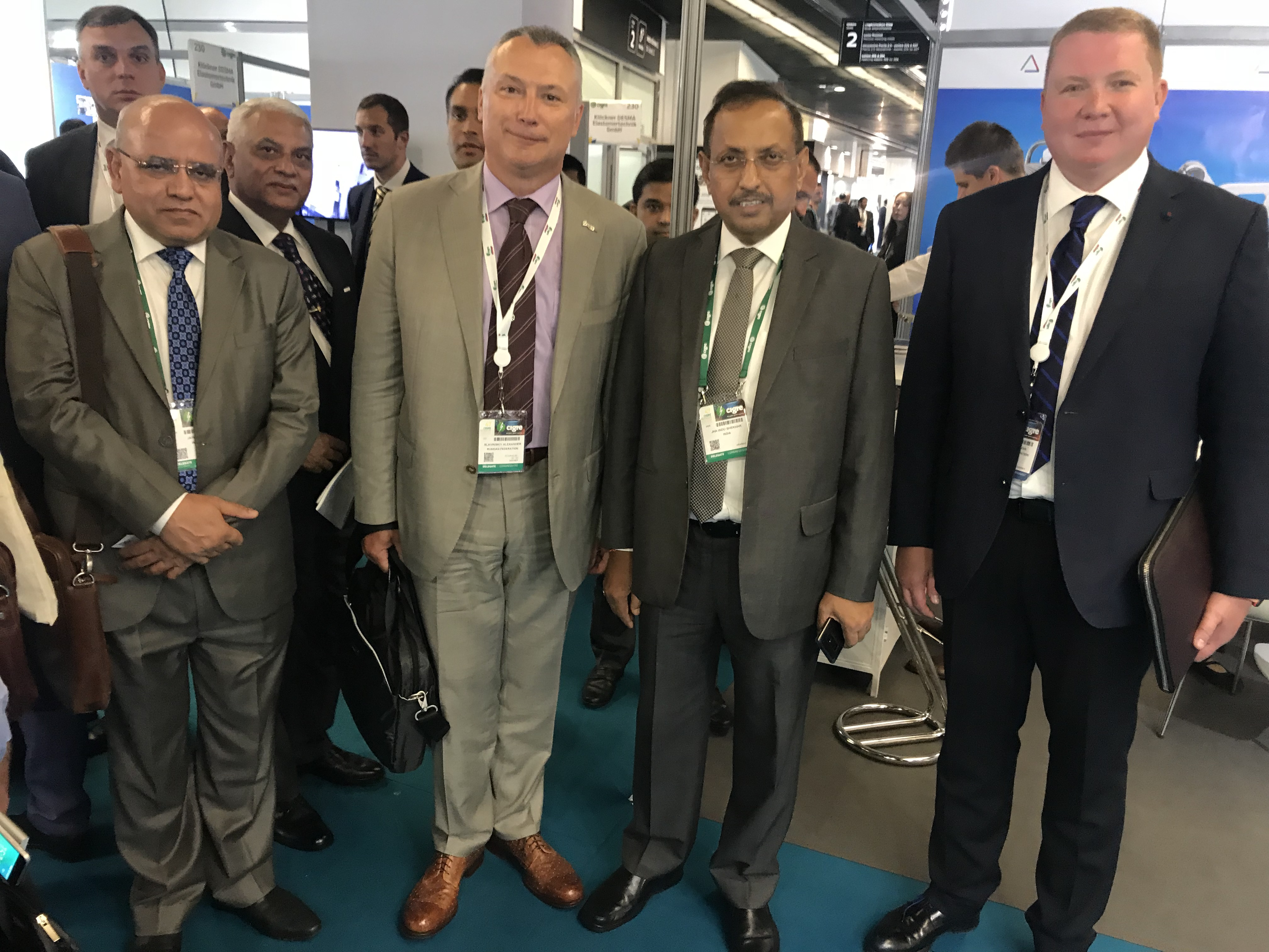 Participants of the meeting between he management of PowerGrid and Izolyator, in the foreground, L-R: Executive Director at PowerGrid Anil Jain, Alexander Slavinsky, Chairman and General Manager of PowerGrid I. S. Jha and Ivan Panfilov