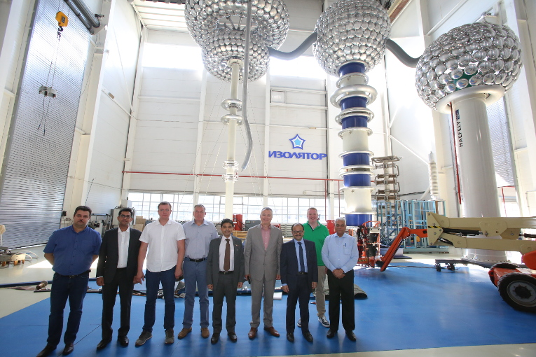 Management representatives of Mehru at the test center of Izolyator plant, L-R: Dmitry Ivanov, Mr. Singh, Andrey Shornikov, Alexander Shornikov, Executive Director of Mehru Sandeep Prakash Sharma, Alexander Slavinsky, CFO at Mehru Mandeep Prakash Sharma, Ivan Panfilov and Dr. Ashok Singh