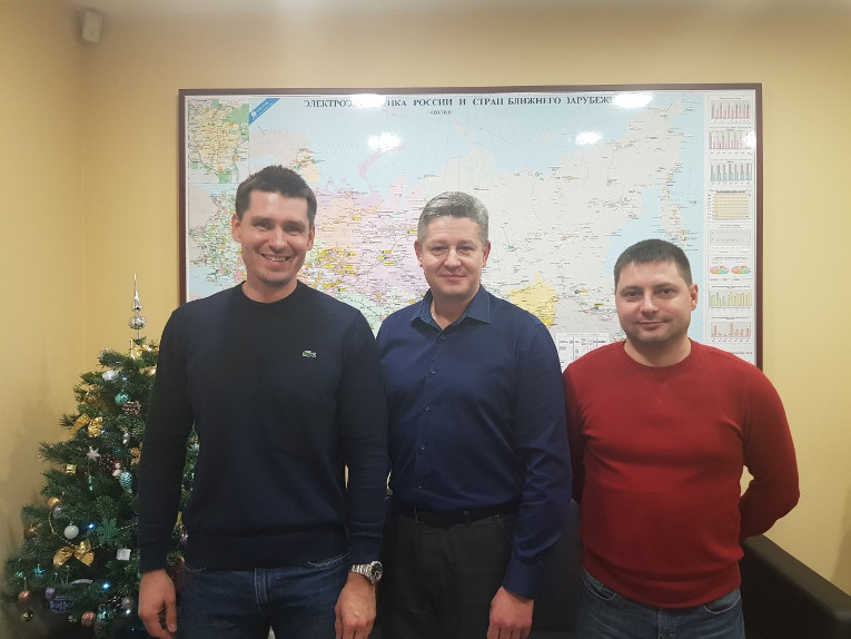 Participants of the meeting with Energy Standard company, from left to right: Maxim Zagrebin, deputy general director Alexander Gumenyuk and transformer equipment service department representative Yakov Filonov