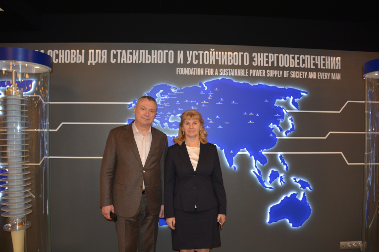 Marina Mironova and Alexander Slavinsky at the corporate museum of Izolyator