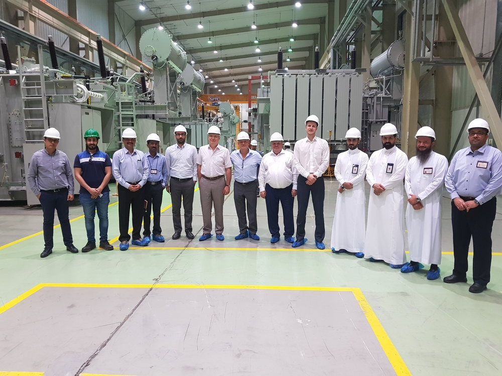 Participants of the tour of the transformer plant of Saudi Power Transformers Company in Saudi Arabia