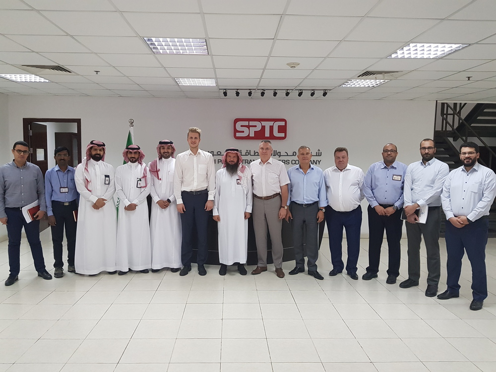 Participants of the talks at the transformer plant of Saudi Power Transformers Company in Saudi Arabia, C - Saudi Power Transformers Company's CEO Hosam A Al-Shaikh