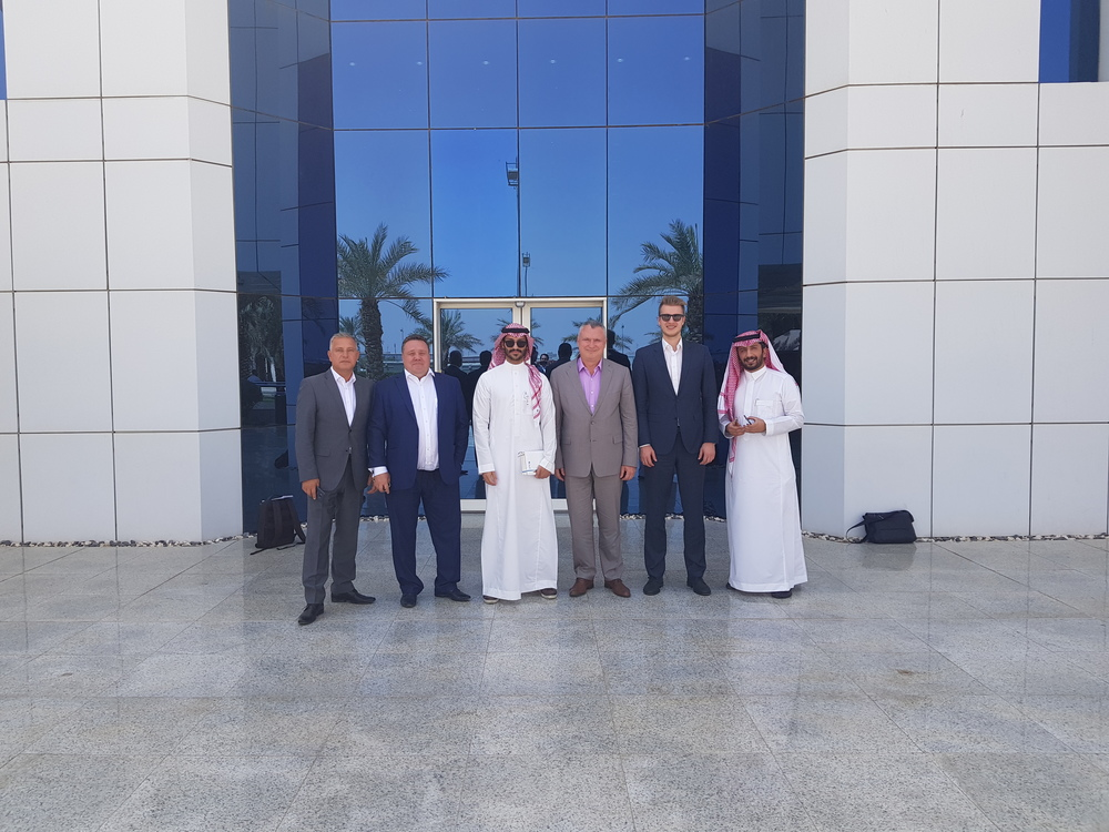 Participants of the business meeting at the Alfanar transformer plant in Saudi Arabia